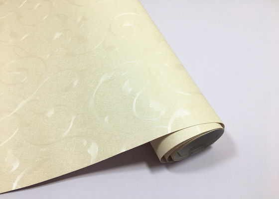 China No smell of paint Floral Self Adhesive Wallpaper , Warm White 60cm * 50m Per Roll supplier
